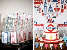 Keep Calm British Themed Birthday Party - Bella Paris Designs London Party, London Cake, 30th Party, Boy Birthday Parties, Keep Calm Birthday, British Party, Tea Party Baby Shower, Nautical Party, Childrens Party