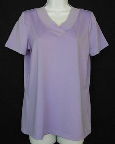 Susan Graver Top Purple Size XS Polyester Spandex Solid Short Sleeve V Neck - Short sleeves and a  cross over v neck are features of this womens polyester stretch top.