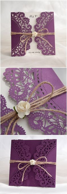 chic rustic purple laser cut wedding invitations for country wedding . chic rustic purple laser cut wedding invitations for country wedding ideas: - paper cards - Laser Cut Wedding Invitations, Rustic Invitations, Purple Invitations, Mexican Wedding Invitations, Event Invitations, Fall Wedding, Diy Wedding, Trendy Wedding, Wedding Rustic