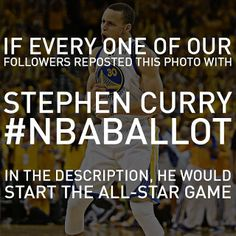 Stephen Curry currently ranks 3rd among West guards in All-Star voting. It's in your hands, #DubNation. 18 days left to Dub The Vote. To vote, just repost this photo with this as the caption: Stephen Curry #NBABallot More ways to vote: http://www.nba.com/warriors/dubthevote