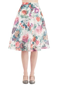 Among the Blooms Skirt. Bring a conservatorys worth of beauty to any day with this floral midi skirt! #multi #modcloth