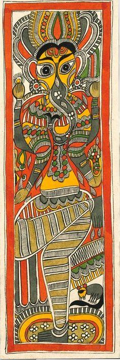 Ganesha - Handmade Traditional Indian Madhubani painting (7.5 x 22.5 inches)