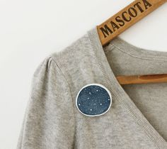 Starry night brooch Hand shaped paper clay by sweetbestiary