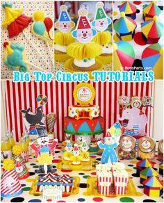 idéias festa tema circo decoração como fazer palhacinhos cupcakes