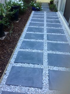 Pavers and pebbles; smooth with a little rough. Pebble Patio, Pebble Landscaping, Side Yard Landscaping, Backyard Walkway, Garden Pavers, Modern Landscaping, Small Backyard Design, Modern Backyard, Paver Path