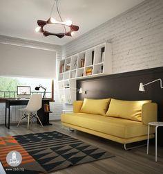 Jugendzimmer in Schwarz und Weiß und ein gelbes Schlafsofa