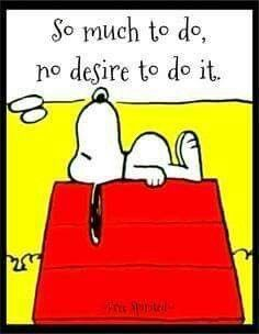 So much to do, no desire to do it. My feelings exactly, Snoopy! That Snoopy is one witty beagle! Great Quotes, Me Quotes, Funny Quotes, Inspirational Quotes, Peanuts Quotes, Snoopy Quotes, Peanuts Snoopy, Peanuts Cartoon, Charlie Brown Und Snoopy