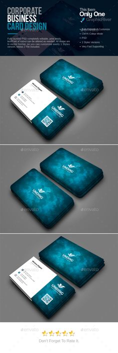Corporate Business Card — Photoshop PSD #logo #stationery • Available here → https://graphicriver.net/item/corporate-business-card/17314759?ref=pxcr