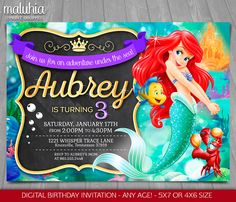Little Mermaid Invitation - Disney Princess Ariel Invite - The Little Mermaid Birthday Invitation - Disney Princess Ariel Birthday Party by MaluhiaPrints on Etsy https://www.etsy.com/listing/253450232/little-mermaid-invitation-disney