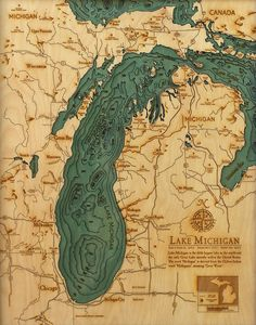 Explore the Underwater Topography of North American Lakes with these Laser-Cut Wood Maps by 'Below the Boat'.