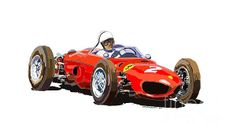 Motorsport Art - Ferrari Dino 156 1962 by Yuriy Shevchuk Ferrari F1, Thing 1, Car Drawings, Automotive Art, Car Painting, Courses, Fast Cars, Exotic Cars, Fine Art America