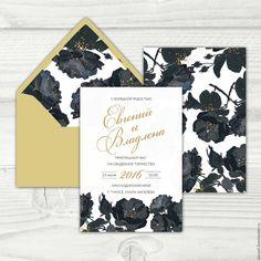 """Купить Приглашение на свадьбу """"Black&Gold"""" - черный, приглашения на свадьбу, пригласительный, пригласительные открытки,…"""