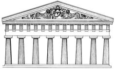 Reconstruction drawing of the Temple of Artemis at Corfu, Greece. c, 600-580 BCE.
