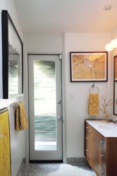 glass for master bathroom door  Julie & Rob's Current Twist on Mid Century Modern — House Tour | Apartment Therapy