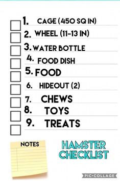 Hamster checklist A checklist so you don't forget anything when you buy a ham… Hamster-checklist Een checklist zodat u niets vergeet wanneer u een hamster koopt Hamster Diy Cage, Diy Hamster Toys, Hamster Life, Baby Hamster, Hamster Stuff, Hamster Ideas, Pet Stuff, Hamster Supplies, Ideas