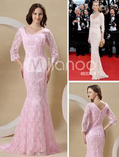 knockoff-hanging earrings off the bodice of a lace pepto bismol dress does not a red carpet gown make