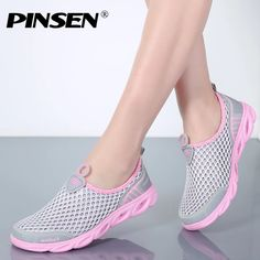 Apr 2019 - PINSEN 2019 Summer Casual Shoes Woman Slip-On Platform Flats Female Breathable Zapatillas Slipony Women Shoes Zapatillas Mujer Outfit Accessories From Touchy Style Leather Booties, Leather Flats, Vans Converse, Water Shoes For Men, Aqua Shoes, Minimalist Shoes, Beach Shoes, Beach Sandals, Ladies Slips
