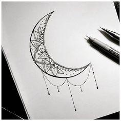 Tattoo moon mandala crescent new ideas Luna Tattoo, Lotusblume Tattoo, Tattoo Drawings, Doodle Tattoo, Art Drawings, Star Tattoos, Love Tattoos, Beautiful Tattoos, Body Art Tattoos