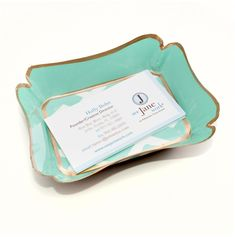 Jade and gold card holder desk accessory