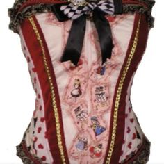 corset top alice in wonderland red black and white corset red