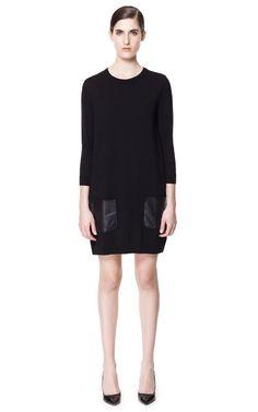 Dress with Faux Leather Pockets | Zara