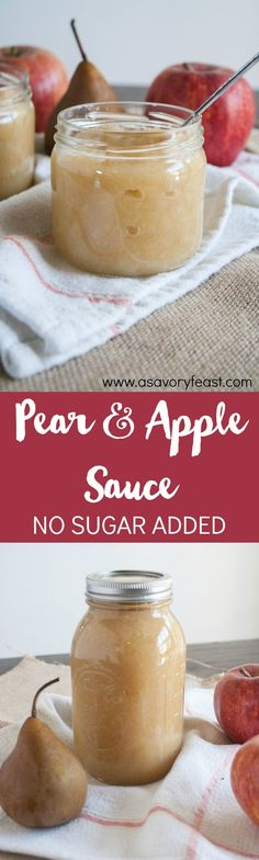 Homemade Pear and Apple Sauce is an easy recipe that kids and adults will love! Fresh apples and pears made into a homemade sauce with no added sugar. You won't believe how easy this recipe is to make (Sugar Free Apple Butter)