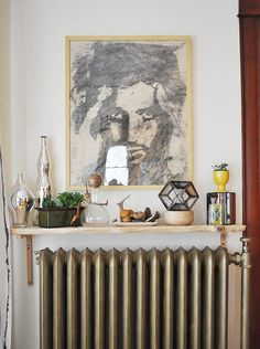 over the radiator shelf..i would love a rad to do this with