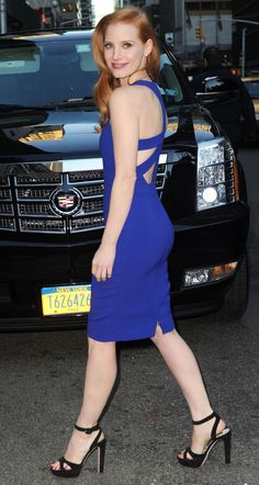 Jessica Chastain tight blue dress perfection