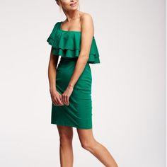Zelené šaty na jedno rameno M642