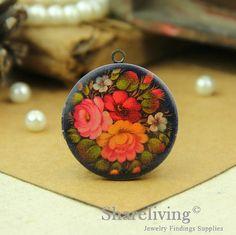 1pcs Vintage Flower Locket Antique Bronze Brass by shareliving
