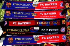 Merchandise goes on sale prior to kickoff during the UEFA Champions League Semi Final, first leg match between FC Barcelona and FC Bayern München at Camp Nou on May 6, 2015 in Barcelona, Catalonia.