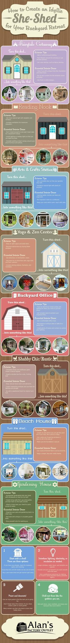 Do you have master plans for taking over your backyard? This guide to creating a she-shed will help you design your very own feminine backyard retreat.
