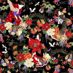 KOKO Metallic Geishas Garden Multi by Chong-A Hwang from | Etsy Asian Fabric, Timeless Treasures Fabric, Good Environment, Christmas Fabric, Cotton Fabric, Quilts, Garden, Dancing, Projects