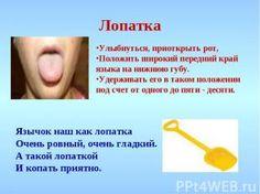 Лопатка Улыбнуться, приоткрыть рот, Положить широкий передний край языка на нижн