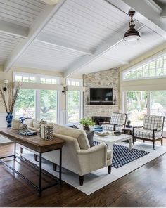 Living Room Floor To Ceiling Window And Cathedral Ceiling