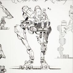 Mech Sketches, Matt Tkocz on ArtStation at https://www.artstation.com/artwork/mech-sketches-6c4e1c9e-c9de-4893-a004-578814f57b84