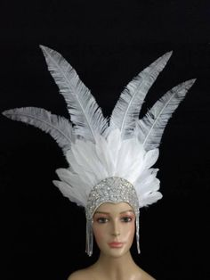 Mythical Birds, Feather Angel Wings, Feather Headpiece, Colorful Feathers, Colour List, Tiaras And Crowns, Silver Glitter, Crystal Rhinestone, Carnival