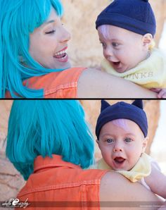 So I had a baby! He is six months old now, and a great age for Baby Trunks cosplay! This shoot and cosplay of Bulma and Baby Trunks is from the hanami scene at the beginning of DBZ Firs. Baby Cosplay, Cosplay Anime, Epic Cosplay, Cute Cosplay, Cosplay Dress, Amazing Cosplay, Halloween Cosplay, Cosplay Girls, Cosplay Costumes