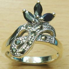 Three Stone Marquise Cut Genuine Sapphire Marcasite 925 Sterling Silver Ring