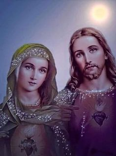 Sacred heart of my Lord Jesus and his Mother Mary, my heavenly mother. Life Of Jesus Christ, Pictures Of Jesus Christ, Christ The King, Heart Of Jesus, Jesus And Mary Pictures, Christian Images, Christian Art, Religious Tattoos, Religious Art