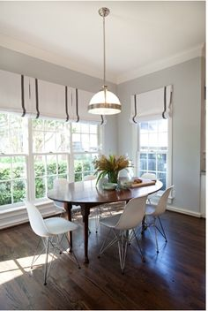 Sally Wheat Interiors, breakfast room  Love the roman shades!!