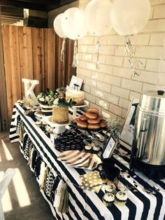 Black, White, & Gold Baby Shower, Modern Baby Shower featuring bold patterns and hints of Gold featuring an amazing Coffee and Cravings Brunch Bar, Bloody Mary Bar, and a really epic tablescape