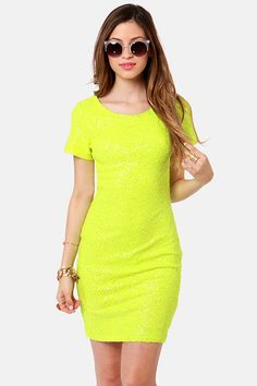 "I've been looking for an affordable neon yellow/lime green dress ever since I laid eyes on ""Carly""...but I'm not liking this price. Pretty Neon Yellow Dress - Sequin Dress - $69.00"