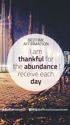 "Bedtime Affirmation: ""I am thankful for the abundance I receive each day"" #successtrain #joytrain #ThriveTOGETHER #abundance #positive #lawofattraction #affirmation #affirmations #positiveaffirmations #positiveaffirmation #success #happiness #motivation #motivational #abundant #loa"