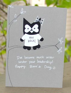Boss's Day is :) Wise Leader Boss's Day Card by thepaperhugfactory on Etsy. Gifts For Boss, Gifts For Coworkers, Bosses Day Cards, Farewell Quotes, Happy Boss's Day, Worlds Best Boss, Owl Card, Staff Appreciation, Happy Birthday Cards
