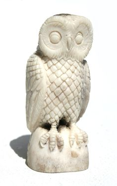 Hand Carved Native American Art White Wise Owl out of Antler Amazing Detail Feathers Talons Folded Wings. $195.00, via Etsy.