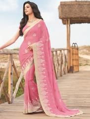 Pink Color Wrinkle Chiffon Festival & Function Wear Sarees : Swarani Collection  YF-42817