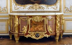 Domaine de Chantilly_The Prince's Chest of Drawers_Dutch oak, amaranth satin finish veneer, barberry, sycamore, pear, wild service tree, holly, maple, hornbeam and boxwood. White marble. Gilded, engraved bronze by cabinet maker Jean-Henri Riesener.