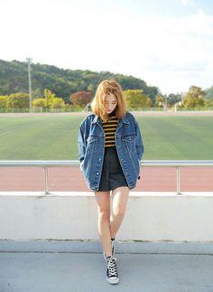 I will whait gor you near he finish line... she said softly Byun jung ha Stylenanda Korean fashion Ootd