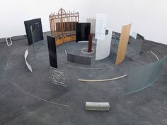Alicja Kwade, Gesamtheit aller Orte, 2012, 54 parts: Metal plates, metal pipes, metal mesh, perforated metal, metal rails, steel plates, steel bar, copper tubes, brass rings, brass rods, Euro coins, wood moldings, wood panels, glass panels, mirrors, door, bricks, bicycles, door, window, lacquer, rust, h = 267, Ø 1,400 cm h = 105, Ø 551 1/4 in ,k unique (via ckhrist) ______ See more on:♥ iheartmyart | facebook | twitter | instagram | flickr | mailing list | pinterest See more work by Alicja…